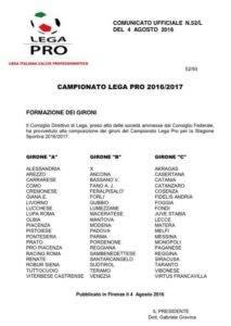 gironi lega pro '16/'17