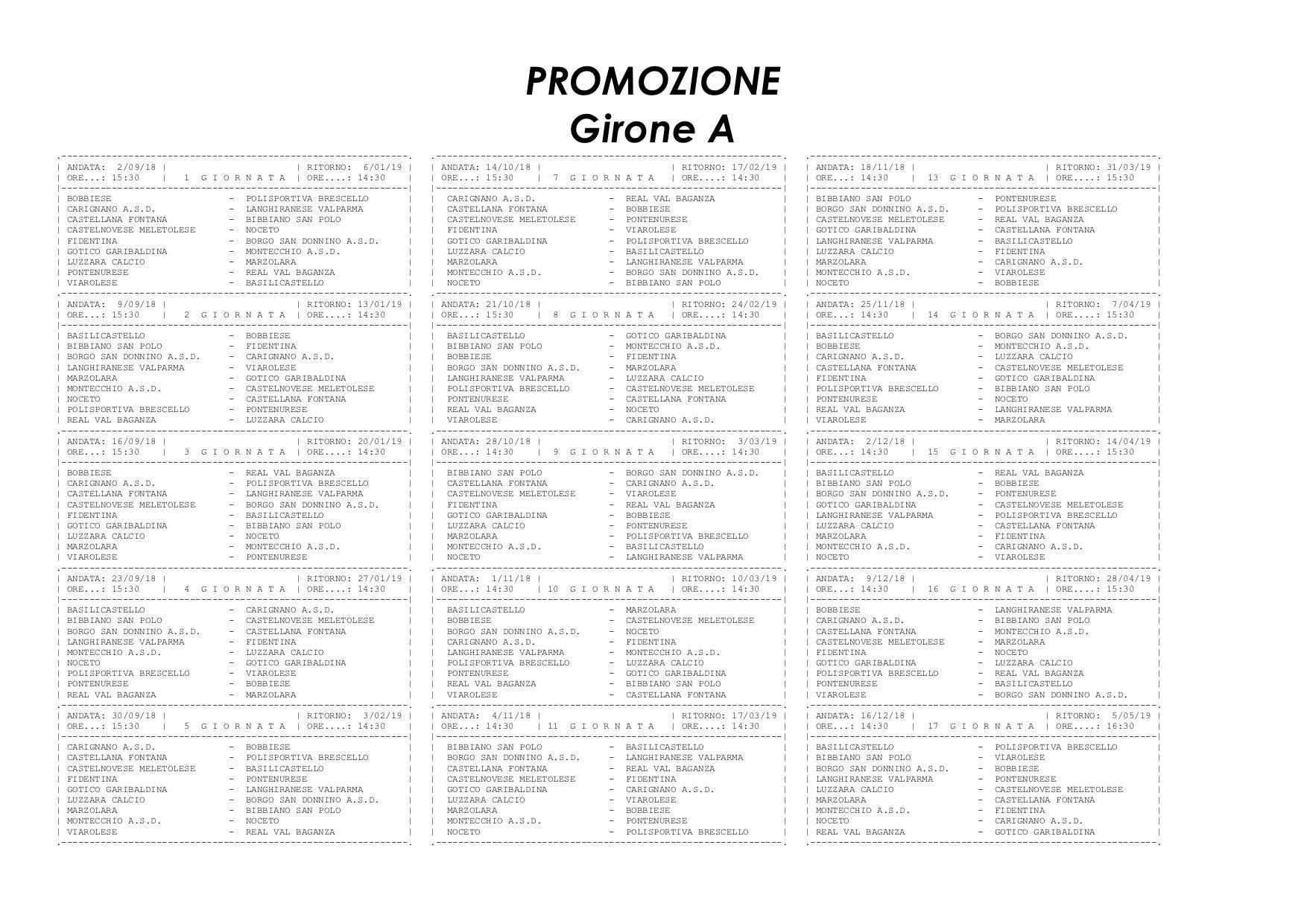 Calendario Promozione Girone A.Campionato E Coppa Italia 2018 2019 Gironi E Calendari Di