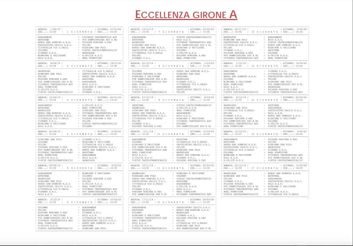 Calendario Eccellenza Toscana.Campionato E Coppa Italia 2019 2020 Gironi E Calendari Di