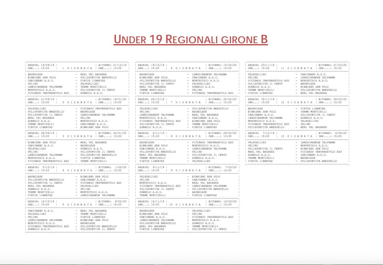 Calendario Juniores Regionali.Campionato 2019 2020 Gironi E Calendari Di Prima Seconda