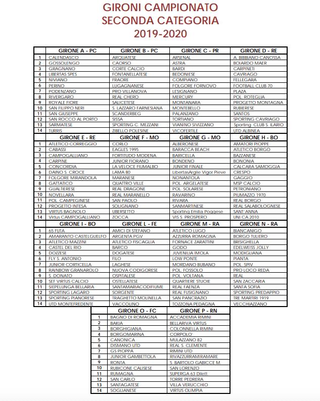Calendario Solare 2020.Campionato 2019 2020 Gironi E Calendari Di Prima Seconda