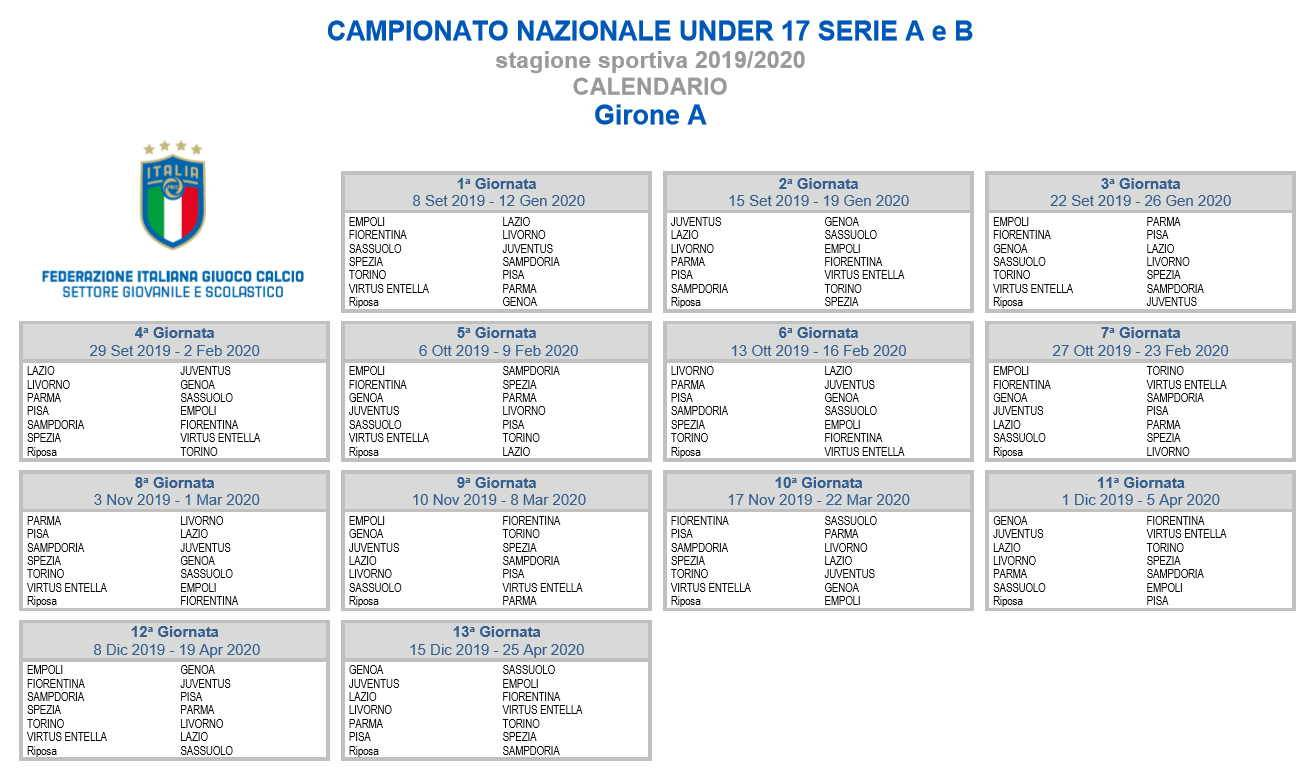 Calendario Serie A 2020 11.Under 17 Il Calendario Del Girone A Del Campionato